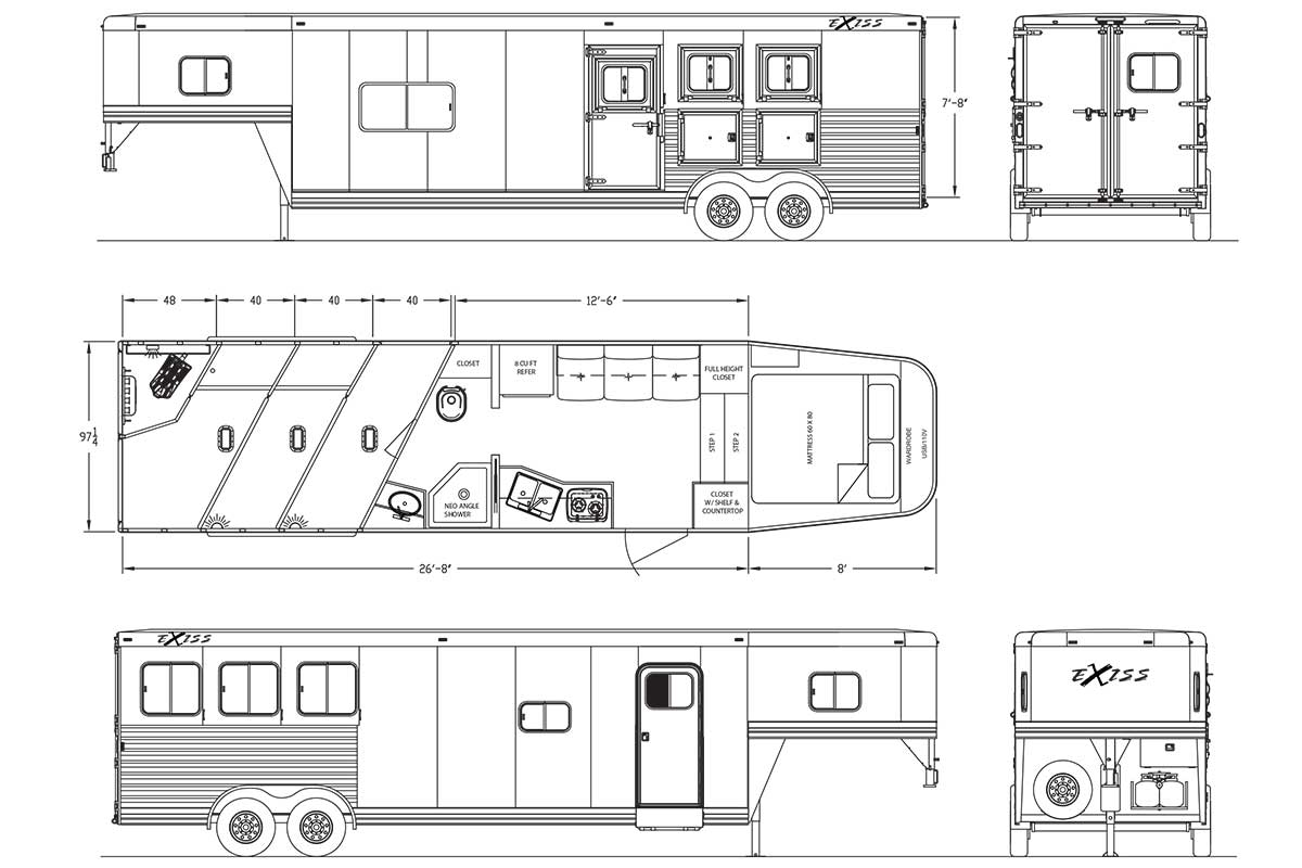 Living Quarters Horse Trailers Endeavor 8312 8412 Lq